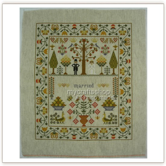 details about wedding sampler preorder completed cross stitch